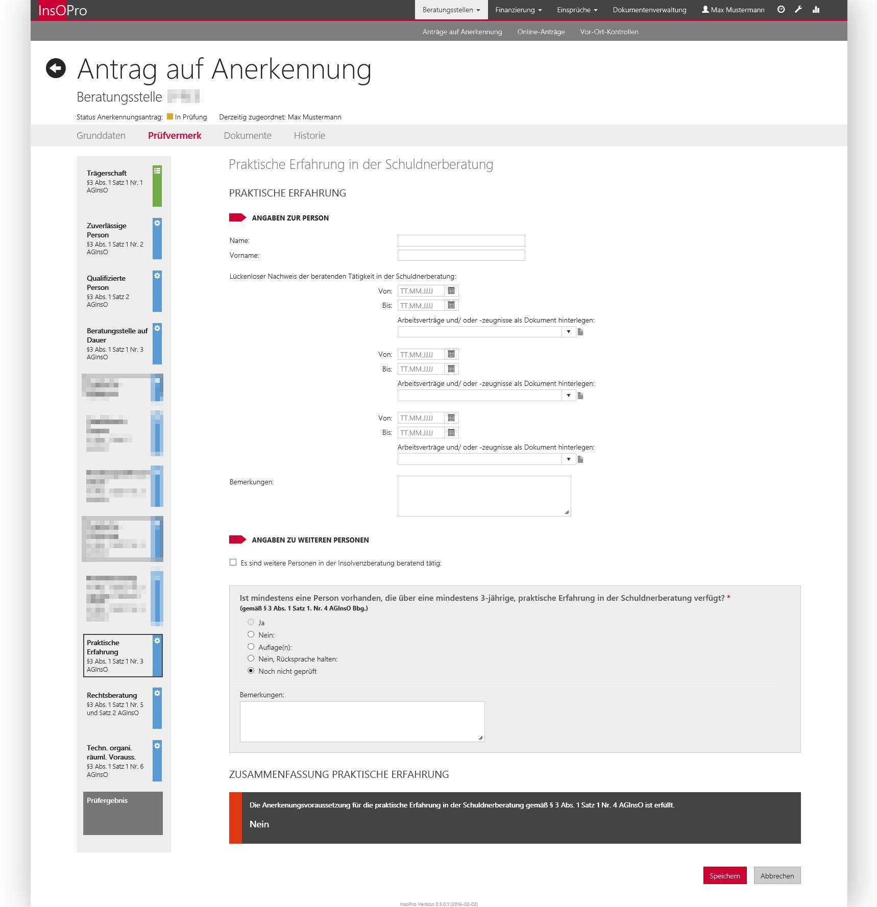 Screenshot Referenz Softwareentwicklung LASV Verwaltungsportal